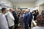 Palestinian President Mahmoud Abbas visits the directorate of health of the West Bank city of Ramallah, August 01, 2019. Photo by Thaer Ganaim