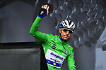 Philippe Gilbert (BEL) Deceuninck-Quick Step wearing the points Green Jersey at sign on for Stage 2 of the Criterium du Dauphine 2019, running 180km from Mauriac to Craponne-sur-Arzon, France. 9th June 2019<br /> Picture: ASO/Alex Broadway | Cyclefile<br /> All photos usage must carry mandatory copyright credit (© Cyclefile | ASO/Alex Broadway)