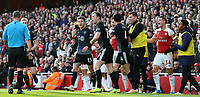 A ruckus breaks out on the pitch after a challenge between Burnley's Ashley Barnes & Arsenal's Sokratis Papastathopoulos<br /> <br /> Photographer David Shipman/CameraSport<br /> <br /> The Premier League - Arsenal v Burnley - Saturday 22nd December 2018 - The Emirates - London<br /> <br /> World Copyright © 2018 CameraSport. All rights reserved. 43 Linden Ave. Countesthorpe. Leicester. England. LE8 5PG - Tel: +44 (0) 116 277 4147 - admin@camerasport.com - www.camerasport.com