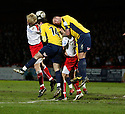 Mark Roberts of Stevenage Borough and Jake Wright of Oxford United (on loan from Brighton) contest a header  during the Blue Square Premier match between Stevenage Borough and Oxford United at the Lamex Stadium, Broadhall Way, Stevenage on Saturday 27th March, 2010..© Kevin Coleman 2010 .
