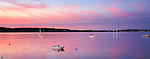 A Few Boats At Rest Just After Sunset On This Calm, Quiet Evening In Gloucester Bay, Gloucester, Massachusetts, USA
