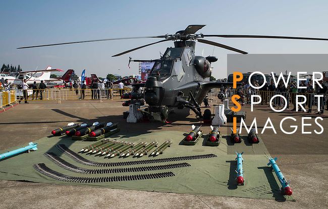 An attack helicopter WZ-10, developed by People's Liberation Army, on display at the China International Aviation & Aerospace Exhibition (Airshow China 2016) at China International Aviation Exhibition Center on 02 November 2016, in Zhuhai, China. Photo by Marcio Machado / Power Sport Images