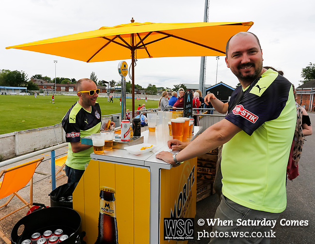 No shortage of customers at the outdoor bar. Yorkshire v Parishes of Jersey, CONIFA Heritage Cup, Ingfield Stadium, Ossett. Yorkshire's first competitive game. The Yorkshire International Football Association was formed in 2017 and accepted by CONIFA in 2018. Their first competative fixture saw them host Parishes of Jersey in the Heritage Cup at Ingfield stadium in Ossett. Yorkshire won 1-0 with a 93 minute goal in front of 521 people. Photo by Paul Thompson