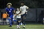 Joey DeZart (14) of the Wake Forest Demon Deacons controls the ball during first half action against the Duke Blue Devils at W. Dennie Spry Soccer Stadium on September 29, 2018 in Winston-Salem, North Carolina.  The Demon Deacons defeated the Blue Devils 4-2.  (Brian Westerholt/Sports On Film)