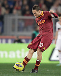 Calcio, Serie A: Roma vs Milan. Roma, stadio Olimpico, 22 dicembre 2012..AS Roma forward Francesco Totti kicks the ball during the Italian Serie A football match between AS Roma and AC Milan at Rome's Olympic stadium, 22 December 2012.UPDATE IMAGES PRESS/Riccardo De Luca