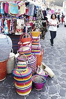 Arts and crafts market. The village of Tepotzlan, Morelos nestled at the foot of the dramatic Tepozteco mountains. Mexico 02-06