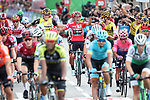 Overall winner Red Jersey Primoz Roglic (SLO) and his Team Jumbo-Visma team mates celebrate as they cross the finish line of the final Stage 21 of La Vuelta 2019 running 106.6km from Fuenlabrada to Madrid, Spain. 15th September 2019.<br /> Picture: Luis Angel Gomez/Photogomezsport | Cyclefile<br /> <br /> All photos usage must carry mandatory copyright credit (© Cyclefile | Luis Angel Gomez/Photogomezsport)