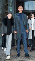 January 19 2018, PARIS FRANCE The Cerruti 1881 Show at the Fashion week<br /> Spring Summer 2018 at Palais Tokyo Paris.<br /> Top Model Jeremy Meeks and his girlfriend<br /> leave the Show.