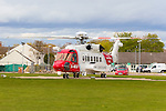 HM Coastguard search and rescue helicopter lands at Raigmore Hospital in Inverness.<br />