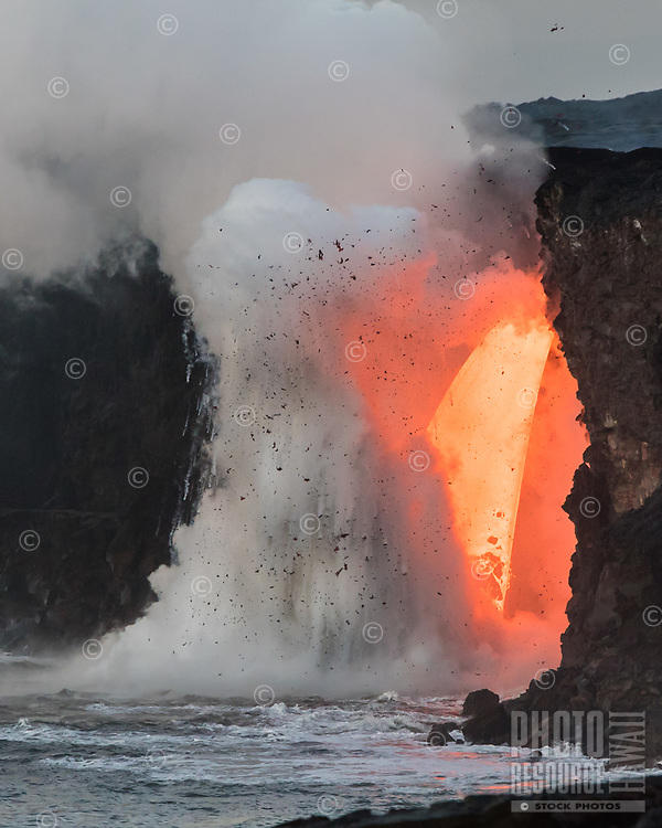 Fire Hose Explosion: Giant explosions created from the largest volume of lava ever to flow in the ocean at one time, taken at the Big Island's Hawai'i Volcanoes National Park in January 2017.