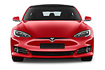 Car photography straight front view of a 2017 Tesla Model S 100D 5 Door Hatchback