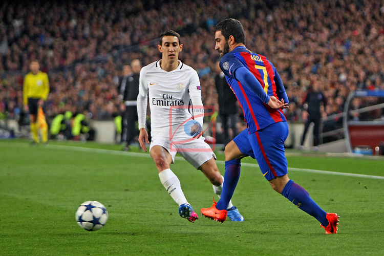 UEFA Champions League 2016/2017.<br /> Round of 16 2nd leg<br /> FC Barcelona vs Paris Saint-Germain: 6-1.<br /> Angel Di Maria vs Arda Turan.