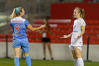 Chicago, IL - Wednesday Sept. 07, 2016: Julie Johnston, Becky Sauerbrunn during a regular season National Women's Soccer League (NWSL) match between the Chicago Red Stars and FC Kansas City at Toyota Park.