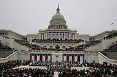 United States President Barack Obama waves to spectators after his speech at the ceremonial swearing-in at the U.S. Capitol during the 57th Presidential Inauguration in Washington, Monday, January 21, 2013. .Credit: Scott Andrews / Pool via CNP