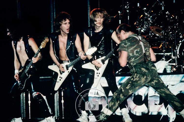 Accept performing in New York City, 1985.<br /> © David Plastik / Retna Ltd.