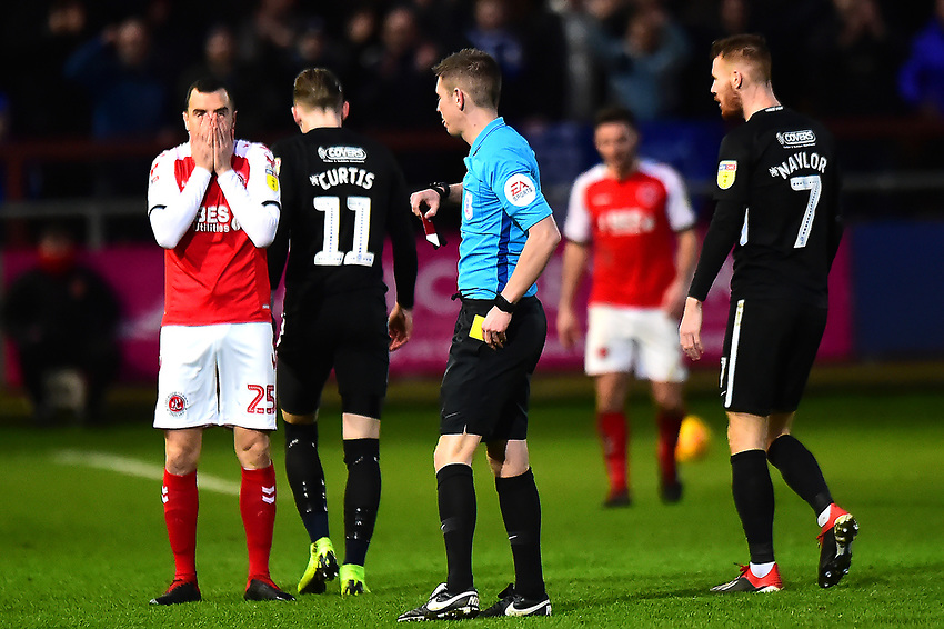 Referee Matthew Donohue shows a red card to Fleetwood Town's Dean Marney<br /> <br /> Photographer Richard Martin-Roberts/CameraSport<br /> <br /> The EFL Sky Bet League One - Fleetwood Town v Portsmouth - Saturday 29th December 2018 - Highbury Stadium - Fleetwood<br /> <br /> World Copyright © 2018 CameraSport. All rights reserved. 43 Linden Ave. Countesthorpe. Leicester. England. LE8 5PG - Tel: +44 (0) 116 277 4147 - admin@camerasport.com - www.camerasport.com