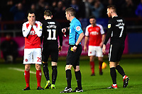 Referee Matthew Donohue shows a red card to Fleetwood Town's Dean Marney<br /> <br /> Photographer Richard Martin-Roberts/CameraSport<br /> <br /> The EFL Sky Bet League One - Fleetwood Town v Portsmouth - Saturday 29th December 2018 - Highbury Stadium - Fleetwood<br /> <br /> World Copyright &copy; 2018 CameraSport. All rights reserved. 43 Linden Ave. Countesthorpe. Leicester. England. LE8 5PG - Tel: +44 (0) 116 277 4147 - admin@camerasport.com - www.camerasport.com