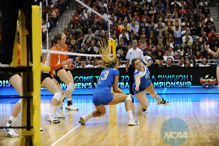 17 DEC 2011:  Lauren Van Orden (05) of UCLA reaches out for the ball during the Division I Women's Volleyball Championship held at the Alamodome in San Antonio, TX. UCLA defeated Illinois 3-1. Joshua Duplechian/NCAA Photos