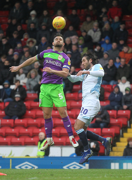 Blackburn Rovers Danny Graham jumps with Bristol City's Bailey Wright<br /> <br /> Photographer Mick Walker/CameraSport<br /> <br /> The EFL Sky Bet Championship - Blackburn Rovers v Bristol City - Saturday 9th February 2019 - Ewood Park - Blackburn<br /> <br /> World Copyright &copy; 2019 CameraSport. All rights reserved. 43 Linden Ave. Countesthorpe. Leicester. England. LE8 5PG - Tel: +44 (0) 116 277 4147 - admin@camerasport.com - www.camerasport.com
