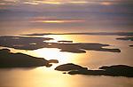 Aerial of sunset over the San Juan Islands, Washington