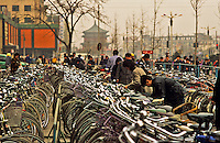 China. Xi?an.  Bicycles parked near the town centre/center