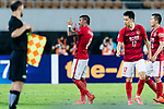 Guangzhou Midfielder Paulinho Maciel (C) celebrating his score during the AFC Champions League 2017 Round of 16 match between Guangzhou Evergrande FC (CHN) vs Kashima Antlers (JPN) at the Tianhe Stadium on 23 May 2017 in Guangzhou, China. (Photo by Power Sport Images/Getty Images)