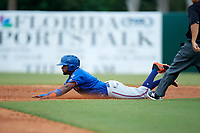 St. Lucie Mets center fielder John Mora (4) slides into second base during a game against the Florida Fire Frogs on July 23, 2017 at Osceola County Stadium in Kissimmee, Florida.  St. Lucie defeated Florida 3-2.  (Mike Janes/Four Seam Images)