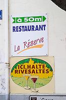 Publicity sign. Rivesaltes town, Roussillon, France