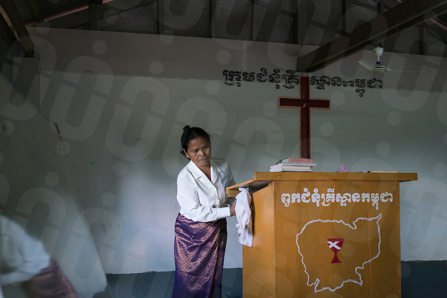 November 27, 2016 - Pailin (Cambodia). Morm Phin (75) prepares her church for the Sunday's service. Morm was working as a supervisor in a garment factory during the Khmer Rouge's regime and she is now a pastor in small church outside Pailin town. © Thomas Cristofoletti / Ruom