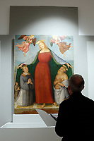 Painting by Perugino, Madonna of Mercy, 1474, stolen in 1987 in Bettona, Italy and found in Jamaica in 1991<br /> Rome May 3rd 2019. Quirinale Palace. Preview of the exhibition 'The art of rescuing art' , a collection of antique artworks, paintings, statues, jewelry and terracotta artefacts rescued from the command of Carabinieri for the protection of the cultural heritage in 50 years.  Many of these artworks were stolen on commission for private collections.<br /> Photo di Samantha Zucchi/Insidefoto