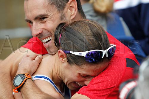 06.08.2011 Dextro Energy Triathlon - Women - ITU World Championship from Hyde Park, London. Helen Jenkins (gbr) is hugged at the end of the race.