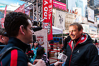 U.S. men's head coach Jurgen Klinsmann is interviewed during the centennial celebration of U. S. Soccer at Times Square in New York, NY, on April 04, 2013.
