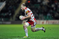 Matt Kvesic of Gloucester Rugby goes on the attack. Aviva Premiership match, between Northampton Saints and Gloucester Rugby on November 27, 2015 at Franklin's Gardens in Northampton, England. Photo by: Patrick Khachfe / JMP