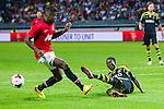 Solna 2013-08-06 Football Friendly Game , AIK - Manchester United FC :  <br /> AIK 17 Ebenezer Ofori  i kamp om bollen med Manchester United 29 Wilfried Zaha <br /> (Foto: Kenta J&ouml;nsson) Nyckelord:
