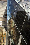 The Gherkin (Swiss Re Headquarters) and other modern office buildings, City of London financial centre, UK