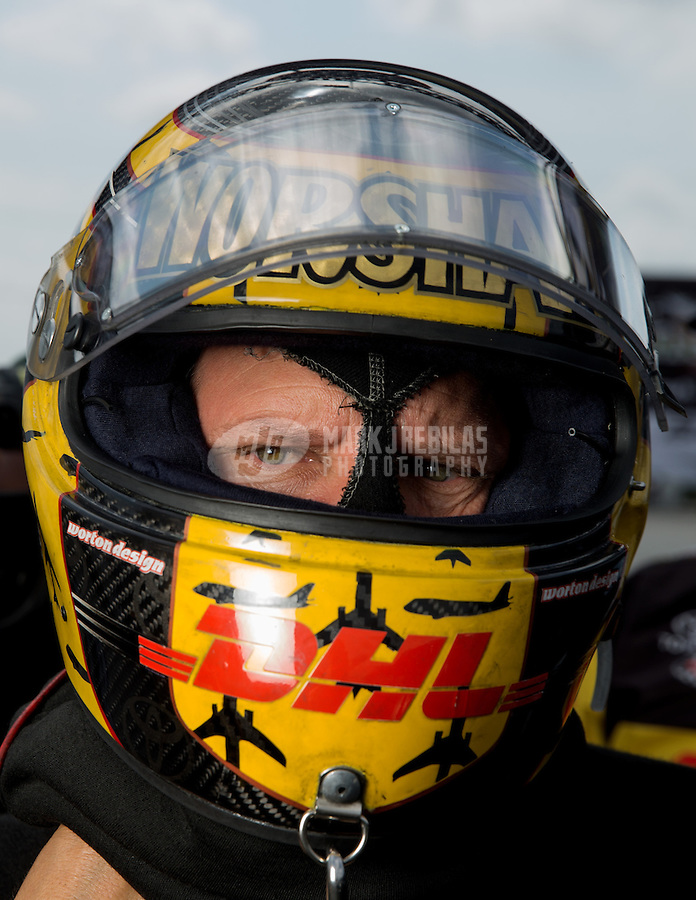 Sept. 1, 2013; Clermont, IN, USA: NHRA funny car driver Del Worsham during qualifying for the US Nationals at Lucas Oil Raceway. Mandatory Credit: Mark J. Rebilas-
