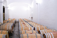Oak barrel aging and fermentation cellar. Herdade das Servas, Estremoz, Alentejo, Portugal