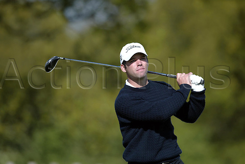 6 May 2004: English golfer Paul Casey looks into the distance after playing a driver from the 16th tee during the first round of the Daily Telegraph Damovo British Masters played at the Marriott Forest of Arden, Birmingham. Photo: Neil Tingle/Action Plus..040506 golf golfer golfers