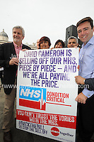 Peoples March for the NHS - Central London, Saturday 6th Sept 2014 - <br /> <br /> MP Clive Efford (L) marcher Rehana Azam (c) and Shadow cabinet Health Minister Andy Burnham (r)<br /> <br /> <br /> <br /> <br /> Photographer: Jeff Thomas - Jeff Thomas Photography - 07837 386244/07837 216676 - www.jaypics.photoshelter.com - swansea1001@hotmail.co.uk