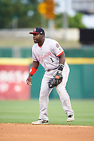 Louisville Bats second baseman Jermaine Curtis (1) during a game against the Buffalo Bisons on June 20, 2016 at Coca-Cola Field in Buffalo, New York.  Louisville defeated Buffalo 4-1.  (Mike Janes/Four Seam Images)