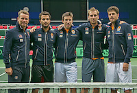 29-01-2014,Czech Republic, Ostrava, Cez Arena, Davis Cup, Czech Republic vs Netherlands, practice, Dutch team: l.t.r.Captain Jan Siemerink, Jean-Julien Rojer, Igor Sijsling, Thiemo de Bakker and Robin Haase.<br /> Photo: Henk Koster