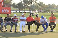 Robert Rock (ENG) Winner, Rory McIlroy (NIR) Second, Thomas Bjorn (DEN), Tiger Woods (USA) and Graeme McDowell (NIR) third, With Sergio Garcia (ESP and Jose Manuel Lars (ESP) and Graeme McDowell (NIR) Hole in one on the 12 hole  during the Abu Dhabi HSBC Golf Championship, Abu Dhabi GC,Abu Dhabi,United Arab Emirates.Picture Fran Caffrey www.golffile.ie