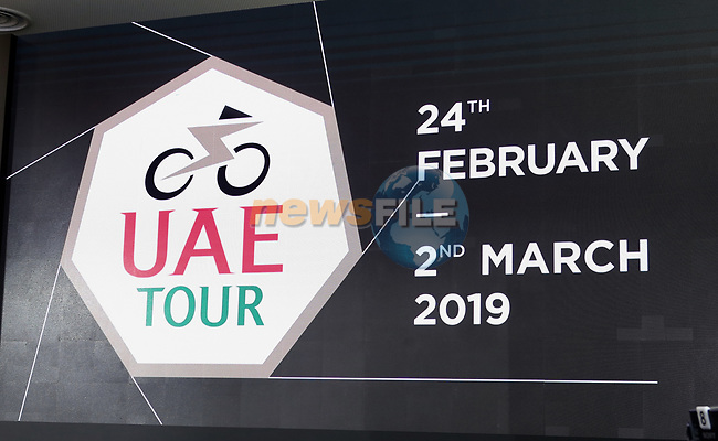 The Supreme Organising Committee of the UAE Tour have unveiled the event&rsquo;s new logo and trophy. Both heptagonal seven sided shapes to reference the seven United Arab Emirates involved: Abu Dhabi, Dubai, Sharjah, Ajman, Fujairah, Ras al-Khaimah, and Umm al-Quwain. The merger between the Dubai Tour and Abu Dhabi Tour created a new seven-stage race that, in 2019, will start from Abu Dhabi and end in Dubai, held in the Audi Dubai Showroom, home of Al Nabooda Automobiles, 8th October 2018.<br /> Picture: Varuna Liyanage/UAE Tour/RCS | Cyclefile<br /> <br /> <br /> All photos usage must carry mandatory copyright credit (&copy; Cyclefile | Varuna Liyanage/UAE Tour/RCS)