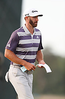 Dustin Johnson (USA) looks at his yardage book on the 18th hole during the third round of the 118th U.S. Open Championship at Shinnecock Hills Golf Club in Southampton, NY, USA. 16th June 2018.<br /> Picture: Golffile | Brian Spurlock<br /> <br /> <br /> All photo usage must carry mandatory copyright credit (&copy; Golffile | Brian Spurlock)