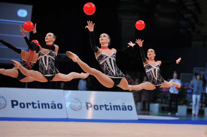 Ukrainian senior group performs routine at 2011 World Cup at Portimao, Portugal on April 28, 2011.