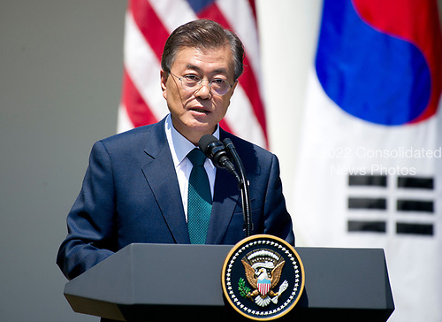 President Moon Jae-in of the Republic of Korea makes a joint statement with United States President Donald J. Trump in the Rose Garden of the White House in Washington, DC on Friday, June 30, 2017.  <br /> Credit: Ron Sachs / CNP