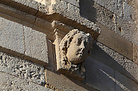 Sculptural detail of a head at the level of the King's Apartments on the Phare de Cordouan or Cordouan Lighthouse, built 1584-1611 in Renaissance style by Louis de Foix, 1530-1604, French architect, located 7km at sea, near the mouth of the Gironde estuary, Aquitaine, France. This is the oldest lighthouse in France. There are 4 storeys, with keeper apartments and an entrance hall, King's apartments, chapel, secondary lantern and the lantern at the top at 68m. Parabolic lamps and lenses were added in the 18th and 19th centuries. The lighthouse is listed as a historic monument. Picture by Manuel Cohen