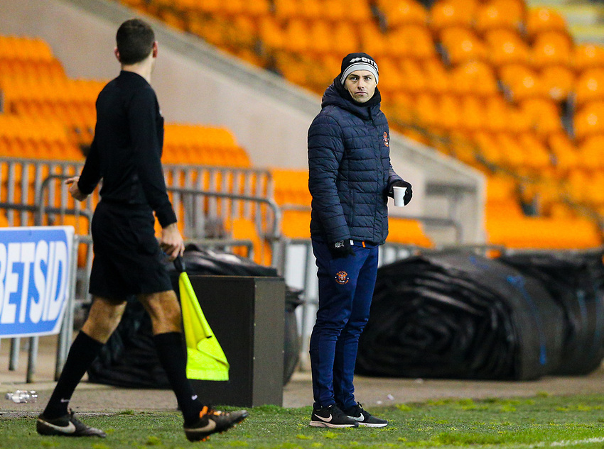 Blackpool's U18's coach Danny Ventre<br /> <br /> Photographer Alex Dodd/CameraSport<br /> <br /> The FA Youth Cup Third Round - Blackpool U18 v Derby County U18 - Tuesday 4th December 2018 - Bloomfield Road - Blackpool<br />  <br /> World Copyright © 2018 CameraSport. All rights reserved. 43 Linden Ave. Countesthorpe. Leicester. England. LE8 5PG - Tel: +44 (0) 116 277 4147 - admin@camerasport.com - www.camerasport.com