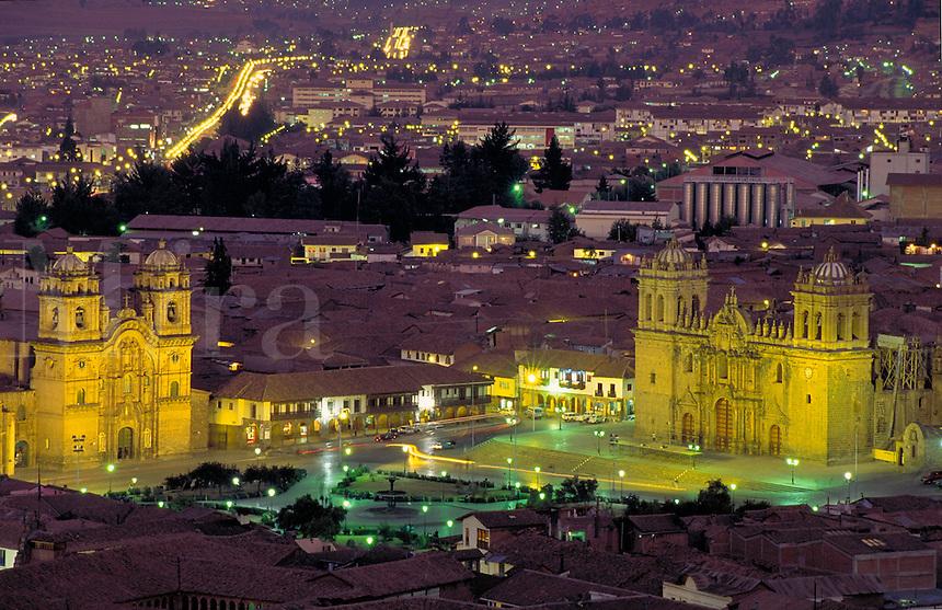 South America ; travel ; cathedral ; Plaza de Armas view of city ; night. Cuzco, Peru.