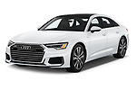 2019 Audi A6 Premium Plus 4 Door Sedan angular front stock photos of front three quarter view